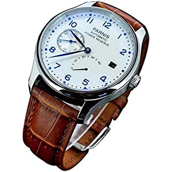 Fanmis Power Reserve White Polit Dial Blue Numbers Automatic Calendar Mens Watch