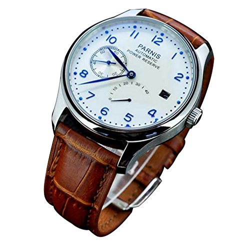 (Fanmis Power Reserve White Polit Dial Blue Numbers Automatic Calendar Men's Watch)