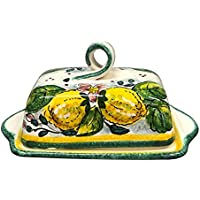 CERAMICHE D'ARTE PARRINI- Italian Ceramic Butter Dish Hand Painted Made in ITALY Tuscan Art Pottery