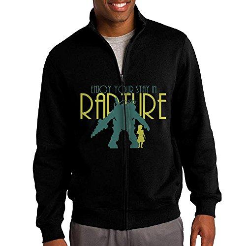 Delta Big Daddy Costume (ILKU Men's Bioshock Big Daddy Little Sister Zip-Up Hooded Sweatshirt Jackets Black Size S)