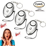 Personal Alarms Keychain With LED Flashlight 130db Emergency Safesound Alarm Portable Safety and Self Defense for Women, Elderly, Kids, Students 2 Pack (Silver-3pack)