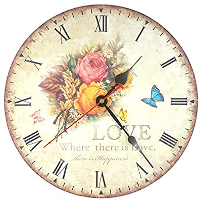 KI Store Silent Non-ticking Round Wood Wall Clocks (12 Inches) Decorative Vintage / Country Style Wooden Rose Roman Numeral Clock