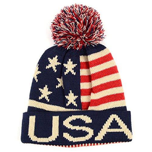 Selini Winter Hat - Knit, Cuffed Beanie with Pom Pom, USA Flag Design, Warm Fun for Cold Days, Small-Medium (American Flag Pom Pom Hat)