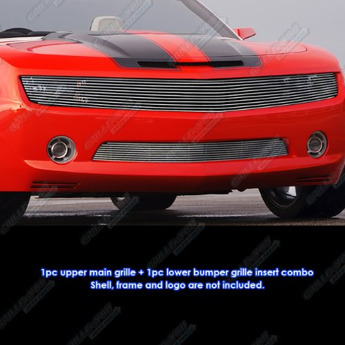 APS Compatible with 2010-2013 Chevy Camaro LT LS V6 Phantom Style Billet Grille Grill Insert Combo S18-A72016C