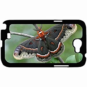 Customized Back Cover Case For Samsung Galaxy Note 2 Hardshell Case, Black Back Cover Design Butterfly Personalized Unique Case For Samsung Note 2