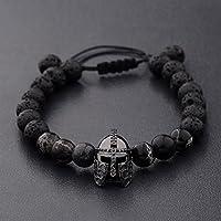 Phonphisai shop Men Charm Black Spartan Helmet Beaded Natural Stone Adjustable Macrame Bracelets