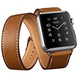 Apple Watch Band, Genuine Leather 42mm Strap iWatch Band by DRUnKQUEEn with Classic Metal Buckle for 42mm Apple Watch & Sport & Edition