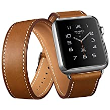 Apple Watch Band, Genuine Leather 38mm Strap iWatch Band by DRUnKQUEEn with Classic Metal Buckle for 38mm Apple Watch & Sport & Edition