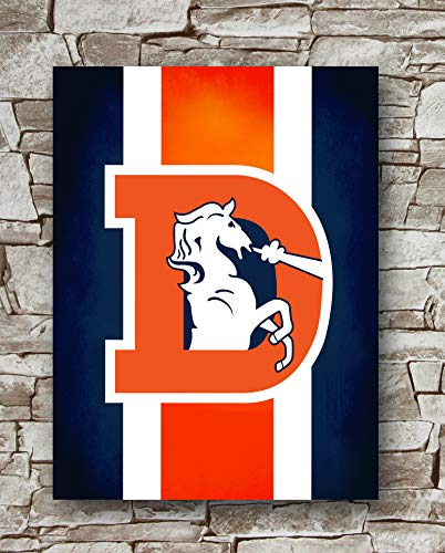Huawuque Denver Broncos Retro Logo Poster Standard Size | 18-Inches by 24-Inches | Denver Broncos Posters Wall Poster - Wall Denver Framed Broncos