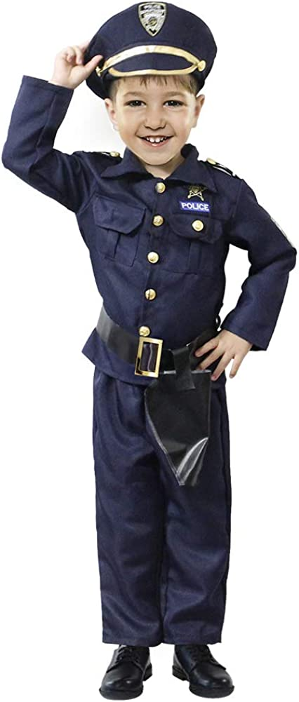 Lulu Home Deluxe Police Officer Halloween Costume for Kids, America Police Set for Halloween Decoration