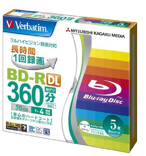 Verbatim Mitsubishi 50GB 4x Speed BD-R Blu-ray Recordable Disk 5 Pack - Ink-jet printable - Each disk in a jewel case by Mitsubishi Kagaku Media