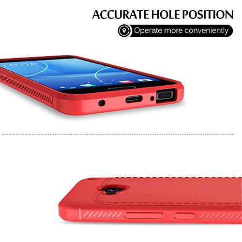 Funda HTC U11 Life, KuGi anti-rasca la Carcasa del teléfono TPU del de la imitación ninguna Case del teléfono móvil caja del teléfono Cover para HTC U11 Life Smartphone,(Azul) Rojo