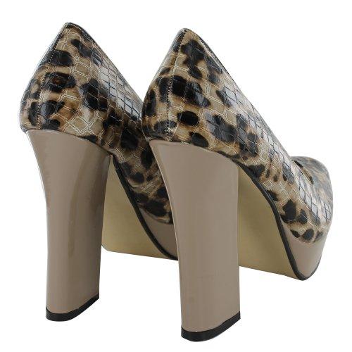 Footwear Sensation - Zapatos de vestir de material sintético para mujer Beige - Leopard Croc Beige