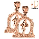 EarringObsession\'s 14K Rose Gold 24mm Angel Playing Violin Leverback Earrings