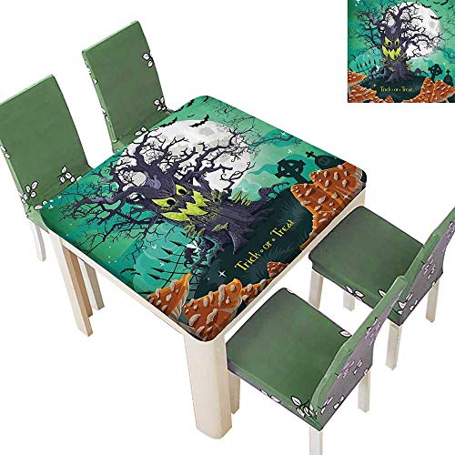 Printed Fabric Tablecloth Trick or Treat Halloween Theme Dead Forest with Spooky Tree GravesMushrooms Washable Polyester 23 x 23 Inch
