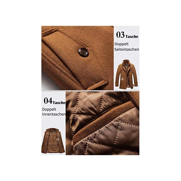 51QwCY8LIuL Abrigo de invierno clásico para hombre con cuello alto y varios bolsillos. Chaqueta de manga larga con cierre de botón, diseño sencillo y elegante. 50% Lana, 50% Poliéster