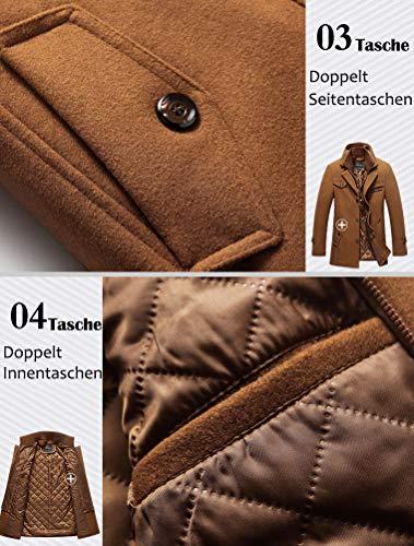 Lavnis Hommes Slim Fit Hiver Zipper Trench Manteau Veste en Laine Décontractée avec Multi Poches