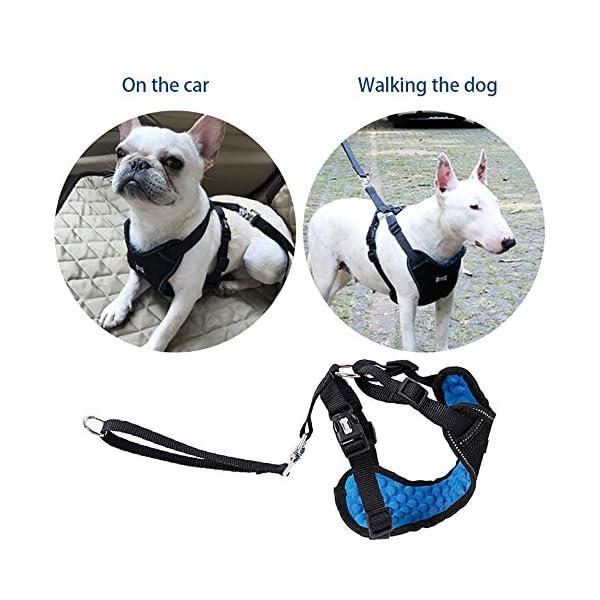 Dog Safety Vest Car Harness Seatbelt Set Adjustable Safety Mesh Harness Travel Strap Vest with Adjustable Seat Belt… Click on image for further info. 4