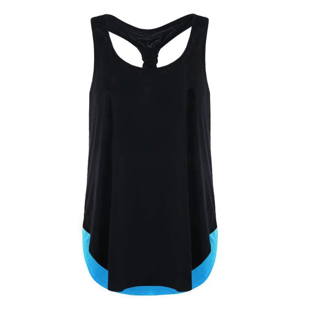 iLUGU Women Summer Vest Top Sleeveless Racer Back Blouse Casual Tanks T Shirt Cami Blue
