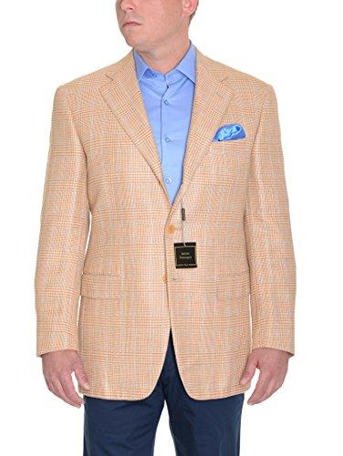 Sartoria Partenopea 40R 50 Tan Glen Plaid Half Lined Silk Linen Wool Sportcoat