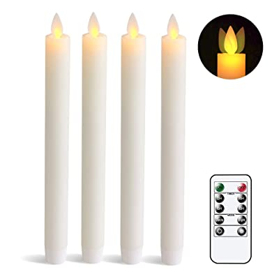 Wondise Remote Flameless Flickering Taper Candles Battery Operated with Timer, Moving Wick Unscented Wax Ivory LED Taper Candles Amber Yellow Christmas Window Decoration(Set of 4, 0.78 x 9.5 Inches): Home Improvement