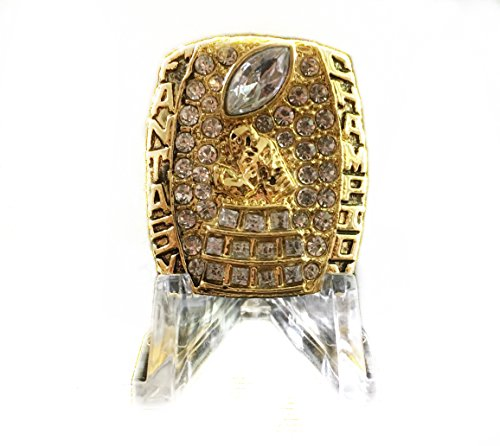 Legacy Rings 2018 Fantasy Football Championship Ring Trophy with Acrylic Display Stand Heavy Solid Prize Award Gold Plated FFL League Winner Size 10-14 (Gold, 11) - Acrylic Trophy
