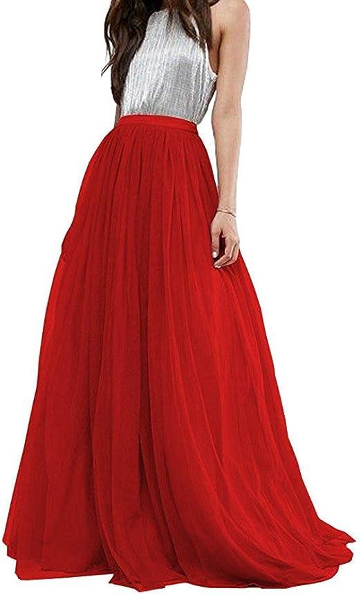 EllieHouse PC25 Falda tutú Larga de Tul para Mujer - Rojo - XXX ...