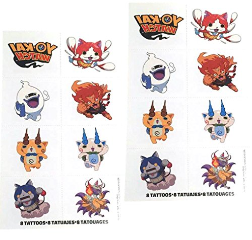 Yo-Kai Watch temporary Tattoos, perfect fir party bags. 1 sheet with 8 squares