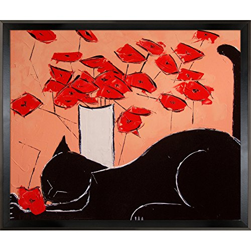 overstockArt Black Cat (Horizontal) with Poppies