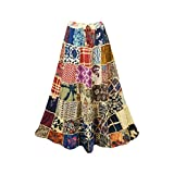 Mogul Interior Women's Maxi Skirt Purple Patchwork Vintage Retro Maxi Skirt S