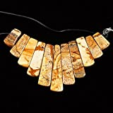 Gemstone11pcs graduated pendant loose beads set for necklace jewelry design Choose quantity:3 sets Stone:Picture jasper
