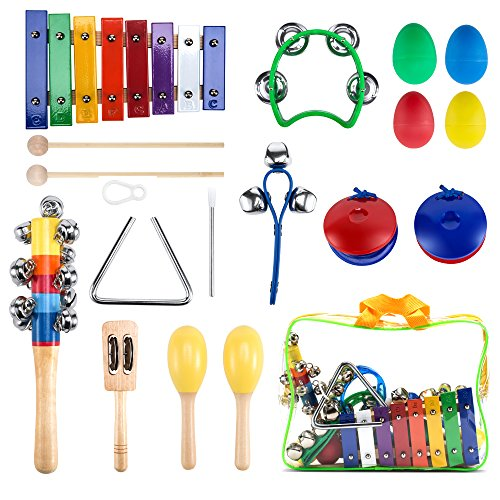 Early Learning Rhythm Set - WONYERED Kids 11PCS Musical Instruments for Kids Maracas Shakers Xylophone Percussion Baby Toy Set Preschool Educational Early Learning Rhythm Tools