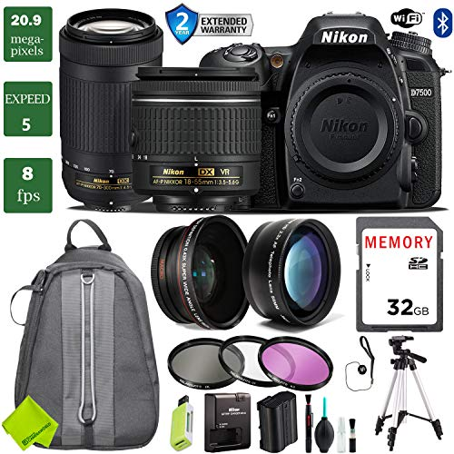 - Nikon D7500 DSLR Camera 18-55mm VR Lens Bundle (18-55mm VR & Nikon 70-300mm, 2 Year Extended Warranty)