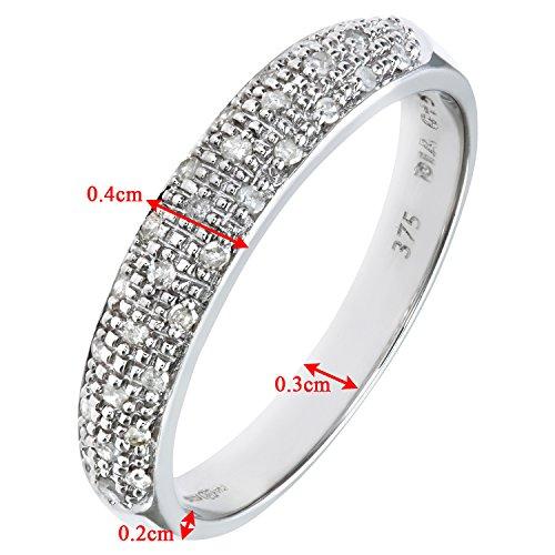 Bague Femme - Or blanc (9 carats) 2.7 Gr - Diamant 0.15 Cts