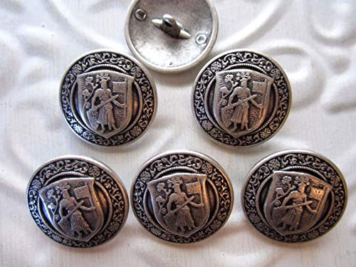 Assortment of Buttons - 7/8''Coat of ARMS - Family Crest - Blazer Buttons (6 pc) Antique Silver Tone - Perfect for Crafting and Sewing