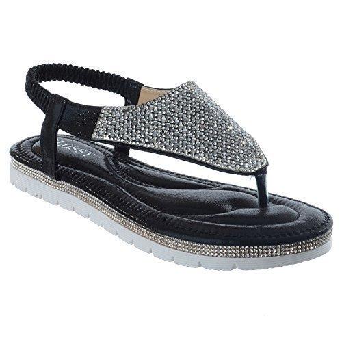Mujer Tacón Cuña Baja Tiras Pedrería con tira trasera Tanga Tira Entre Dedo Sandalias De Plataforma Talla Negro Brillo