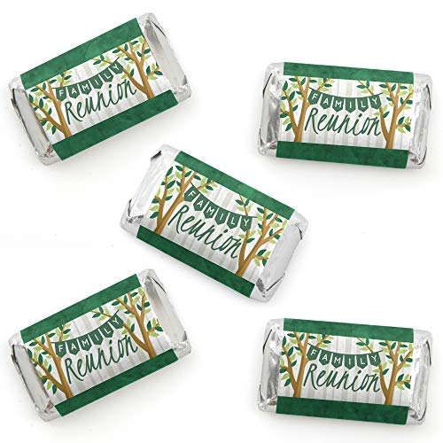 Family Tree Reunion - Mini Candy Bar Wrapper Stickers - Family Gathering Party Small Favors - 40 Count