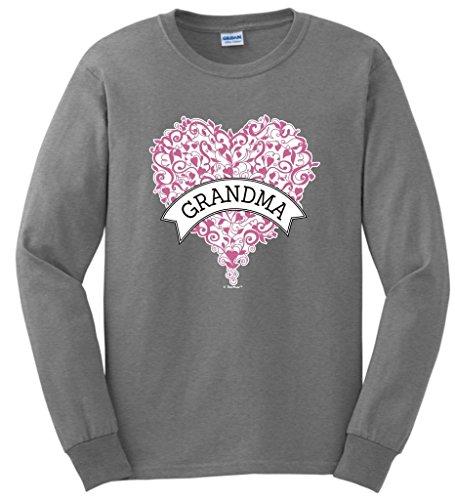 Best Grandma Ever Grandma Gift Pink Heart Banner Long Sleeve T-Shirt XL SpGry