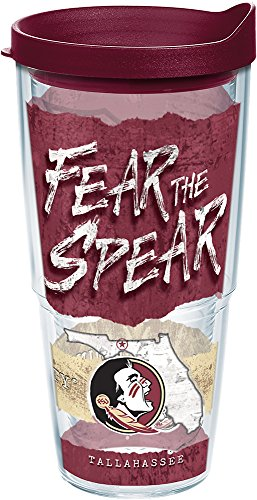 Tervis 1218948 Florida State Seminoles College Statement Tumbler with Wrap and Maroon Lid 24oz, Clear