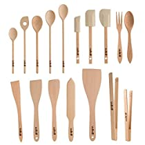 Uulki?? 17 pieces Eco-friendly Cooking Utensils Set from Ardennes Beechwood (Cooking spoons, spatula food turners, food tongs, ...) by Uulki