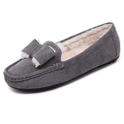 Zapatos Planos Mujer Mocasines De TacóN Bajo Antideslizante Nudo Mocasines Felpa CáLidos SeñOras Invierno Guisante Calzado: Amazon.es: Zapatos y ...