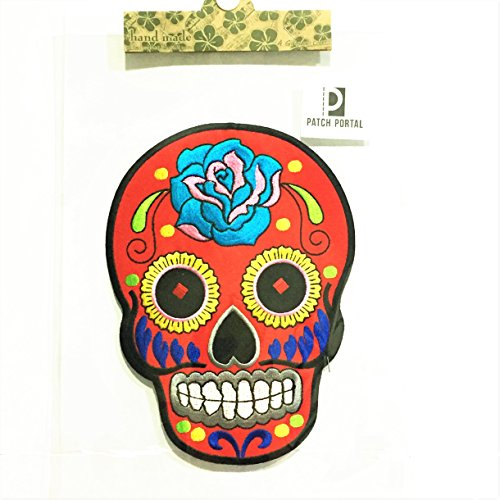 Patch Portal 8 Large Back Patches Sugar Skull Tattoos Red Mexican