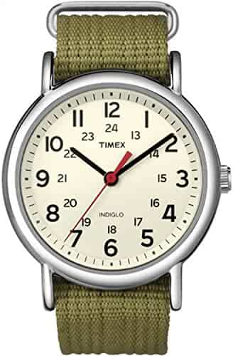 Timex Unisex T2N651 Weekender 38mm Olive Nylon Slip-Thru Strap Watch