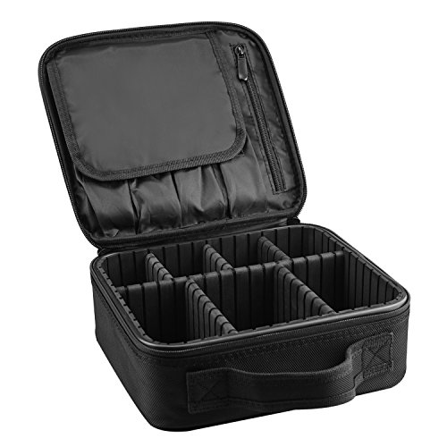 Small Make up Box Professional Beauty Travel Case Cosmetic Bag with Adjustable Compartments - Black