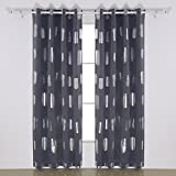 Cheap Deconovo Fashion Oblong Pattern Foil Printed Thermal Insulated Blackout Grommet Panels Thermal Curtains for Living Room 52W x 95L 1Pair Dark Grey