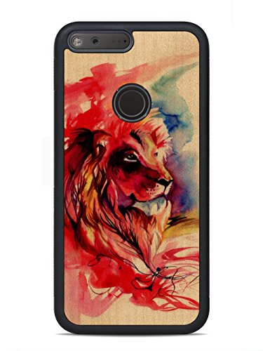 Katy Lipscomb Lion Splash Print by Carved - Google Pixel XL Wood Case - Traveler Rubber Bumper Shell with Real All Wooden Cover - Lion Wood Print