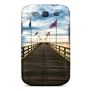 New Premium Flip Case Cover Flags Waving On A Sea Pier Skin Case For Galaxy S3