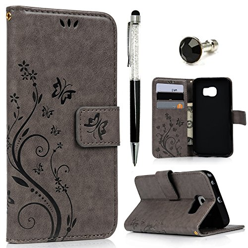 Maviss Diary Galaxy S6 Edge Wallet Case (Not for S6,S6 Edge Plus), Premium PU Leather Embossed Floral Magnetic Clasp Card Slots Flip Folio Cover with Hand Strap & Crystal Pen & Dust Plug - Gray