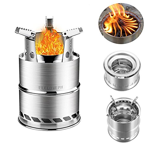 Portable Wood Burning Cooking Stove Collapsible Stainless Steel Alcohol Outdoor Cooking Furnace LeB