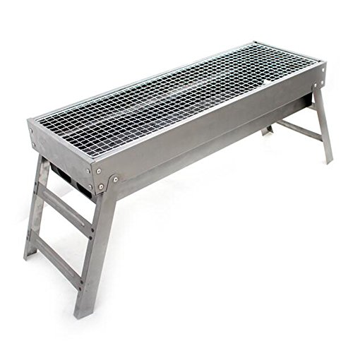 ZZ-aini Stainless steel Charcoal grills Folding Portable BBQ, Camping Picnicking Outdoor Table top Barbecue-A 60cm(24inch)
